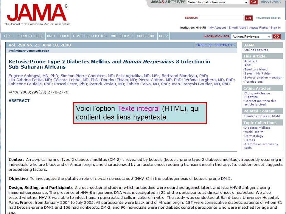 Voici loption Texte intégral (HTML), qui contient des liens hypertexte.