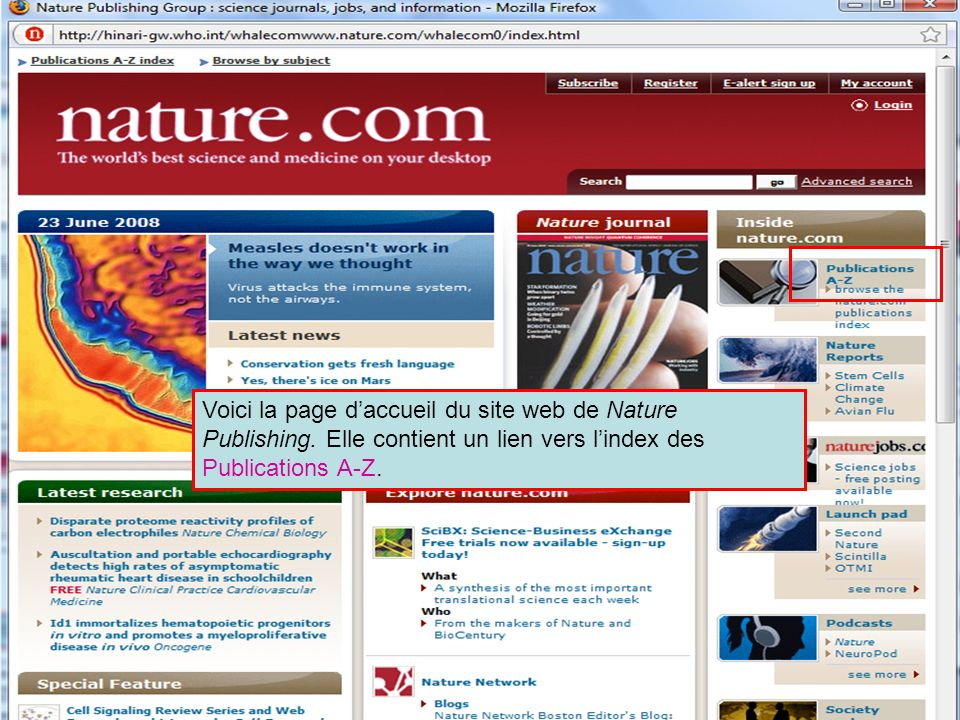 Nature Publishing Intro Page Voici la page daccueil du site web de Nature Publishing.
