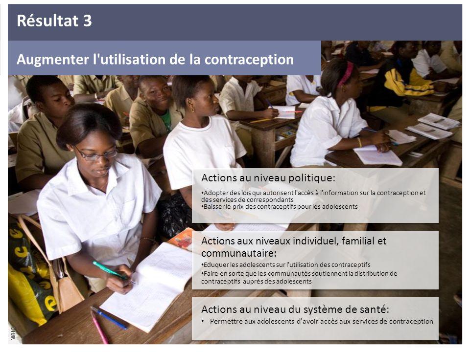 Increase use of contraception Augmenter Augmenter l'utilisation de la contraception Actions au niveau politique: Adopter des lois qui autorisent l'acc