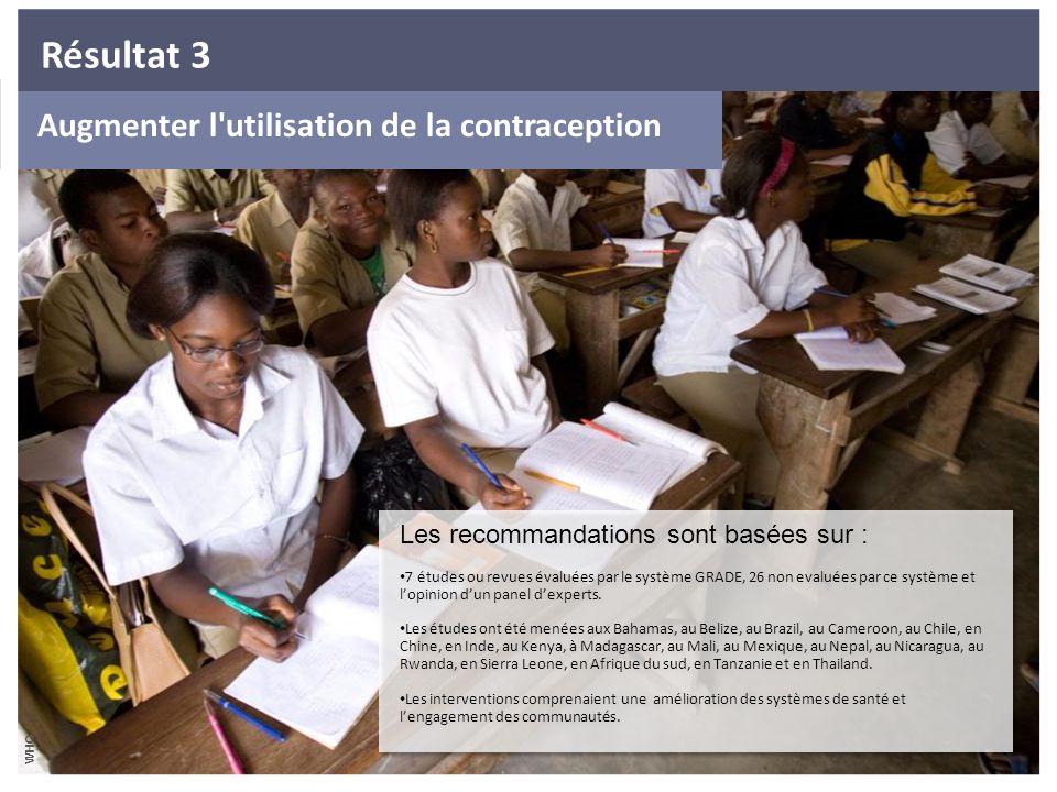Augmenter l'utilisation de la contraception Les recommandations sont basées sur : 7 études ou revues évaluées par le système GRADE, 26 non evaluées pa