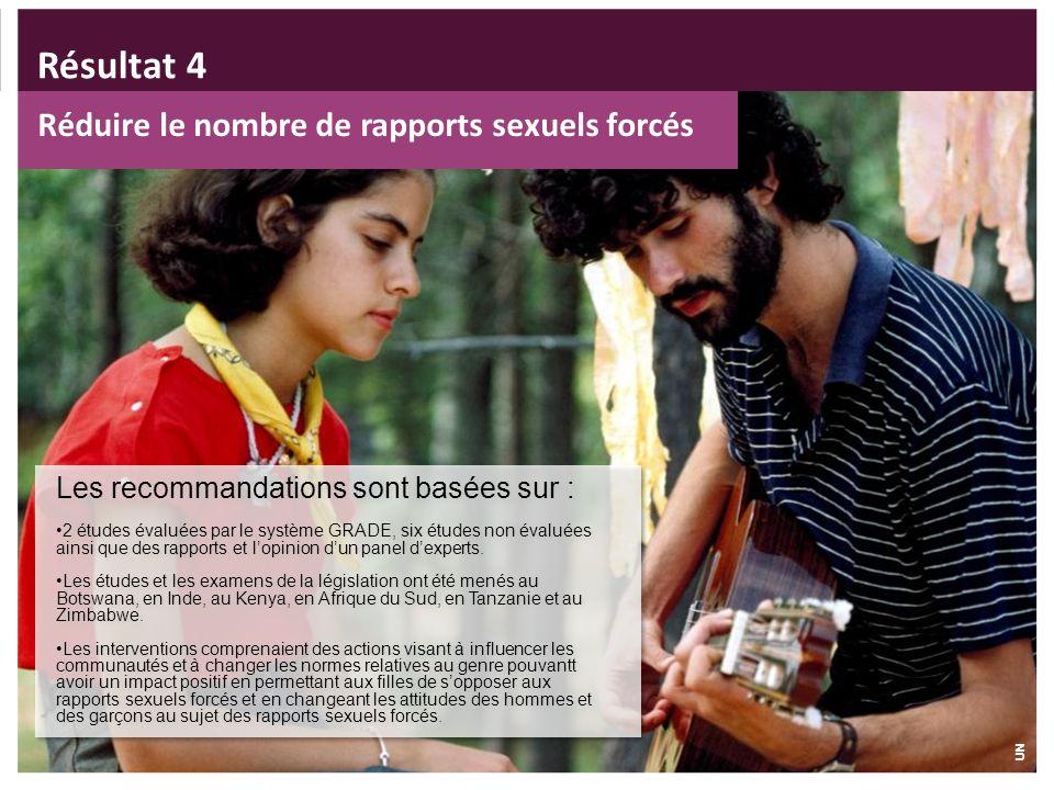 Réduire le nombre de rapports sexuels forcés Les recommandations sont basées sur : 2 études évaluées par le système GRADE, six études non évaluées ain