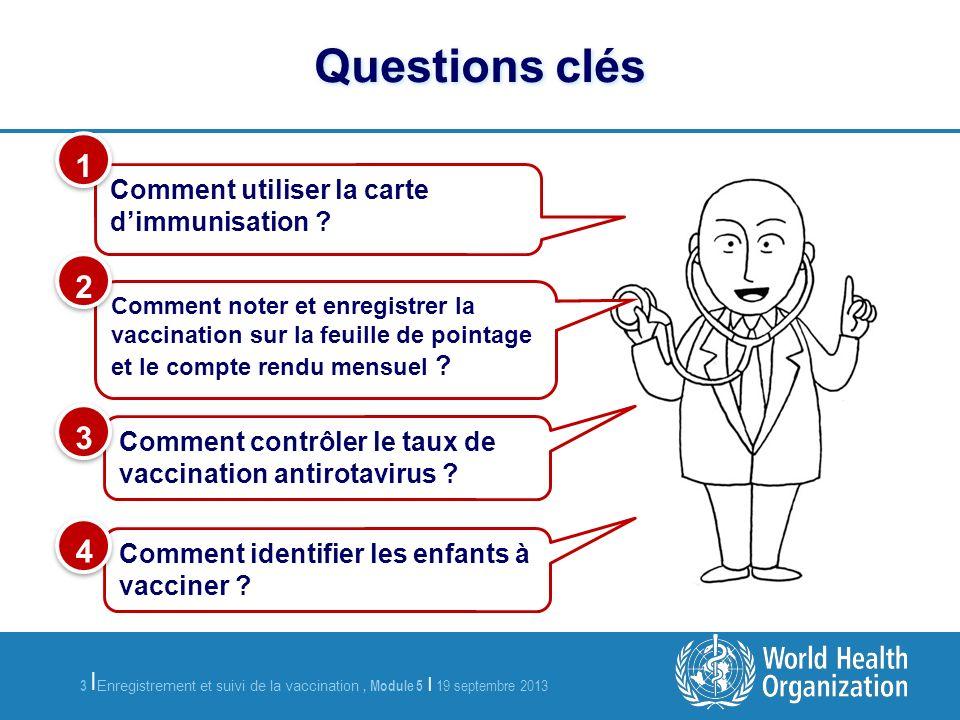 3 Enregistrement et suivi de la vaccination, Module 5 | 19 septembre 2013 | Questions clés Comment utiliser la carte dimmunisation .