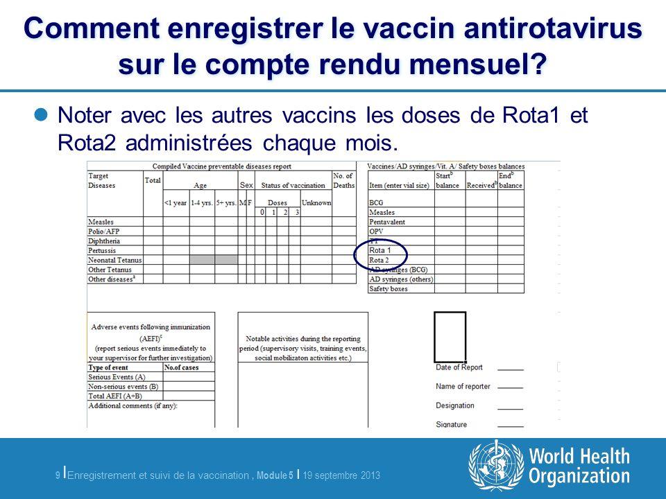 10 Enregistrement et suivi de la vaccination, Module 5 | 19 septembre 2013 | Comment identifier les enfants devant recevoir la première dose de vaccin antirotavirus.