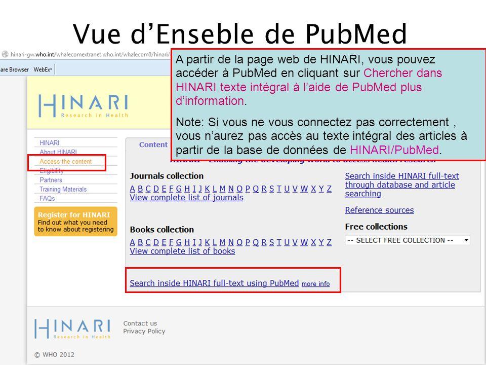 Vue dEnseble de PubMed A partir de la page web de HINARI, vous pouvez accéder à PubMed en cliquant sur Chercher dans HINARI texte intégral à laide de