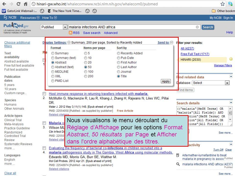 Nous visualisons le menu déroulant du Réglage dAffichage pour les options Format Abstract, 50 résultats par Page et Afficher dans l'ordre alphabétique