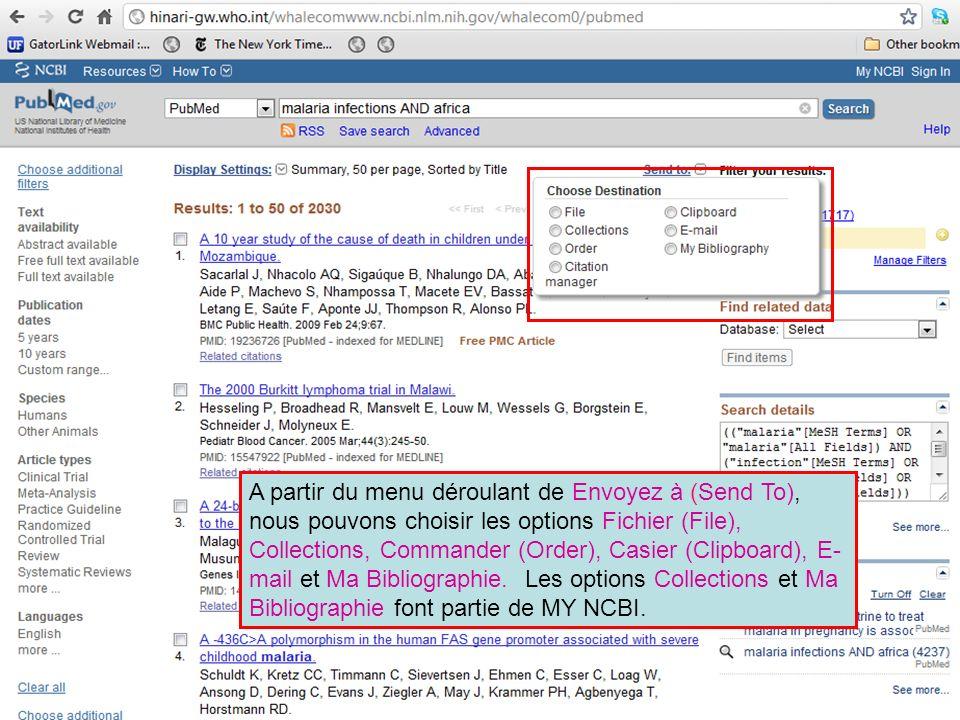 A partir du menu déroulant de Envoyez à (Send To), nous pouvons choisir les options Fichier (File), Collections, Commander (Order), Casier (Clipboard)