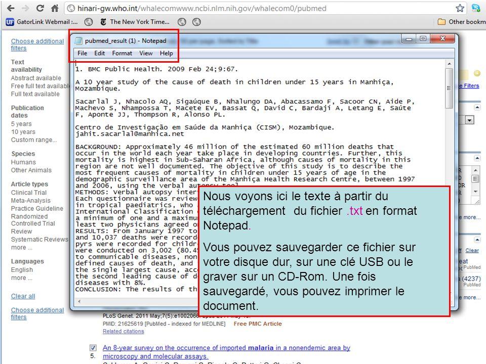 Nous voyons ici le texte à partir du téléchargement du fichier.txt en format Notepad. Vous pouvez sauvegarder ce fichier sur votre disque dur, sur une