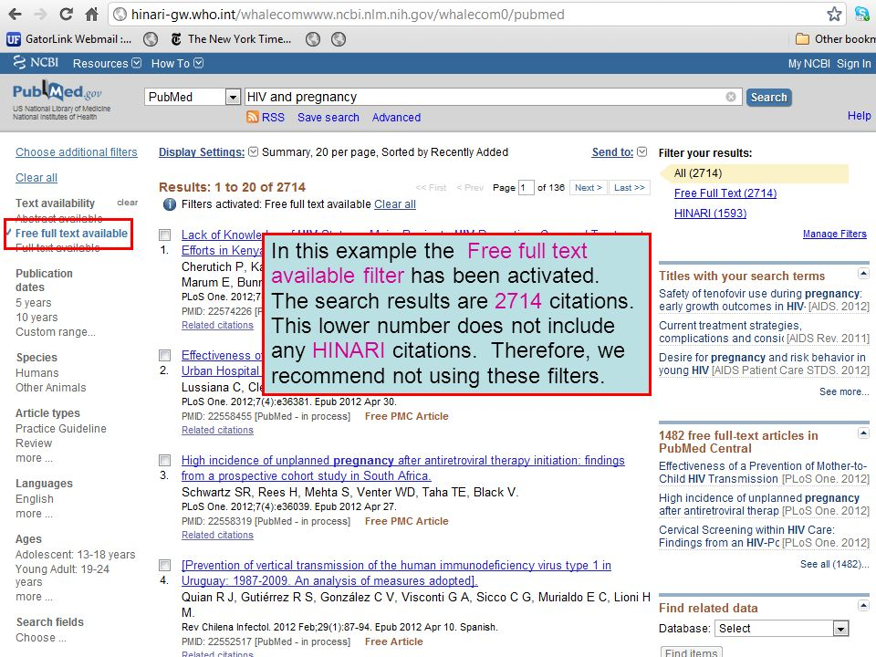 In this example the Free full text available filter has been activated. The search results are 2714 citations. This lower number does not include any