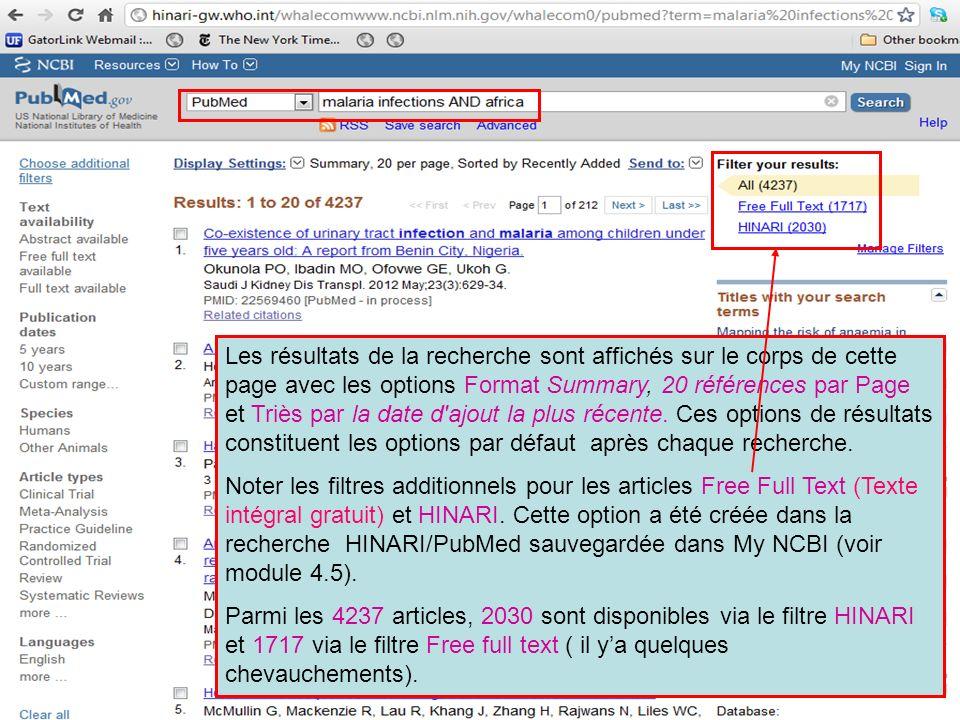 Les résultats de la recherche sont affichés sur le corps de cette page avec les options Format Summary, 20 références par Page et Triès par la date d'