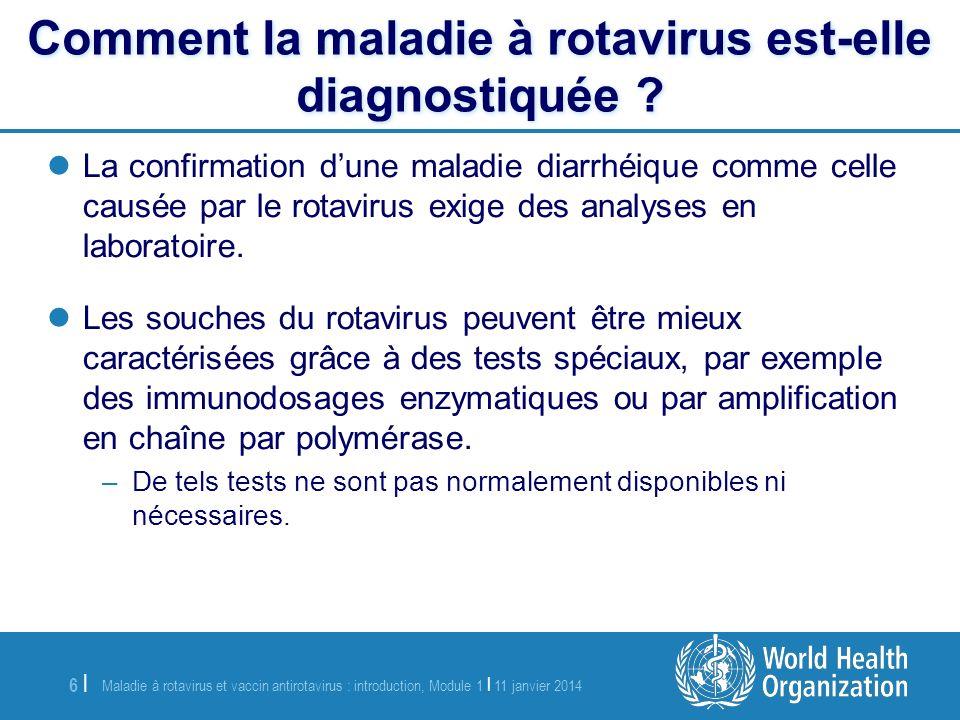 Maladie à rotavirus et vaccin antirotavirus : introduction, Module 1 | 11 janvier 2014 7 |7 | Linfection à rotavirus est extrêmement contagieuse.