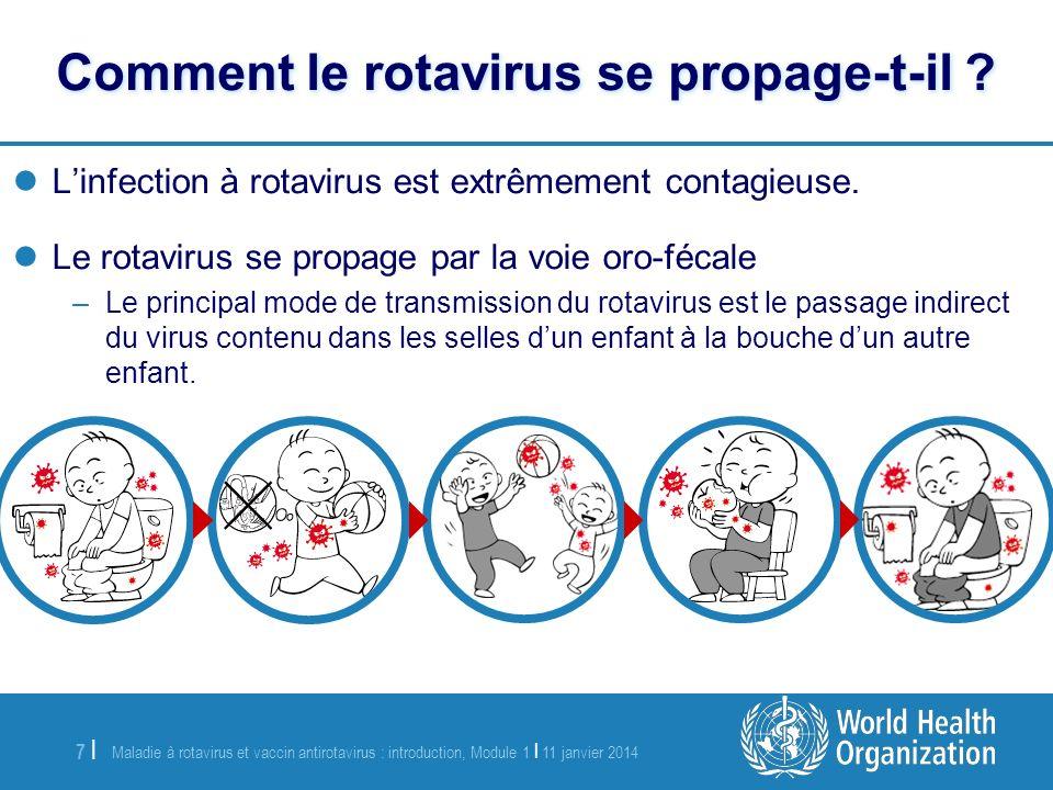 Maladie à rotavirus et vaccin antirotavirus : introduction, Module 1 | 11 janvier 2014 8 |8 | Les nourrissons de plus de 3 mois –À faible immunité ou sans immunité –Vulnérables à la déshydratation Enfants plus âgés sils sont immunodéprimés Quelles populations sont le plus à risque .