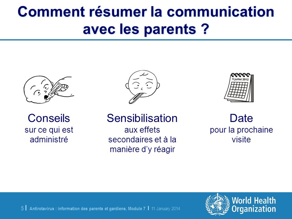 Antirotavirus : information des parents et gardiens, Module 7 | 11 January 2014 5 |5 | Comment résumer la communication avec les parents .