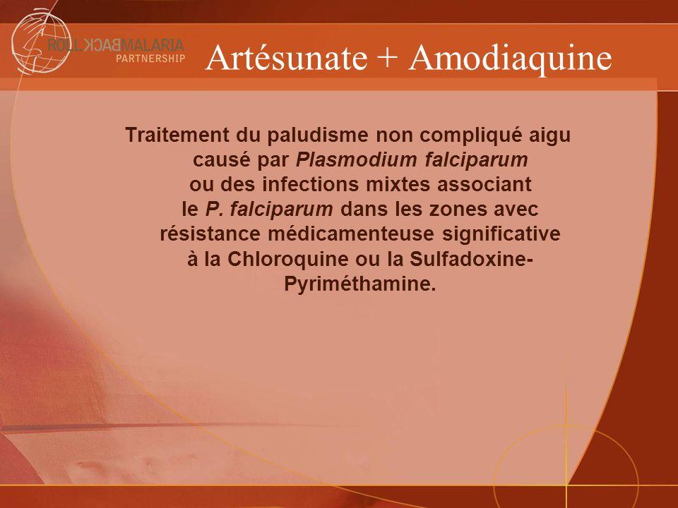 Artésunate + Amodiaquine Traitement du paludisme non compliqué aigu causé par Plasmodium falciparum ou des infections mixtes associant le P. falciparu