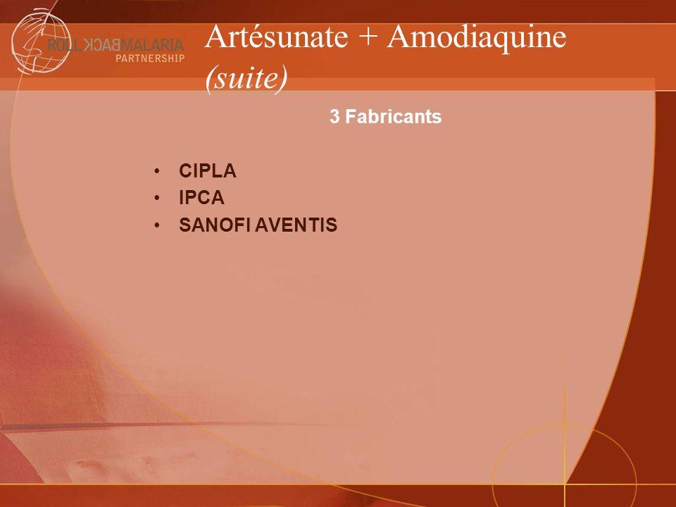 Artésunate + Amodiaquine (suite) 3 Fabricants CIPLA IPCA SANOFI AVENTIS