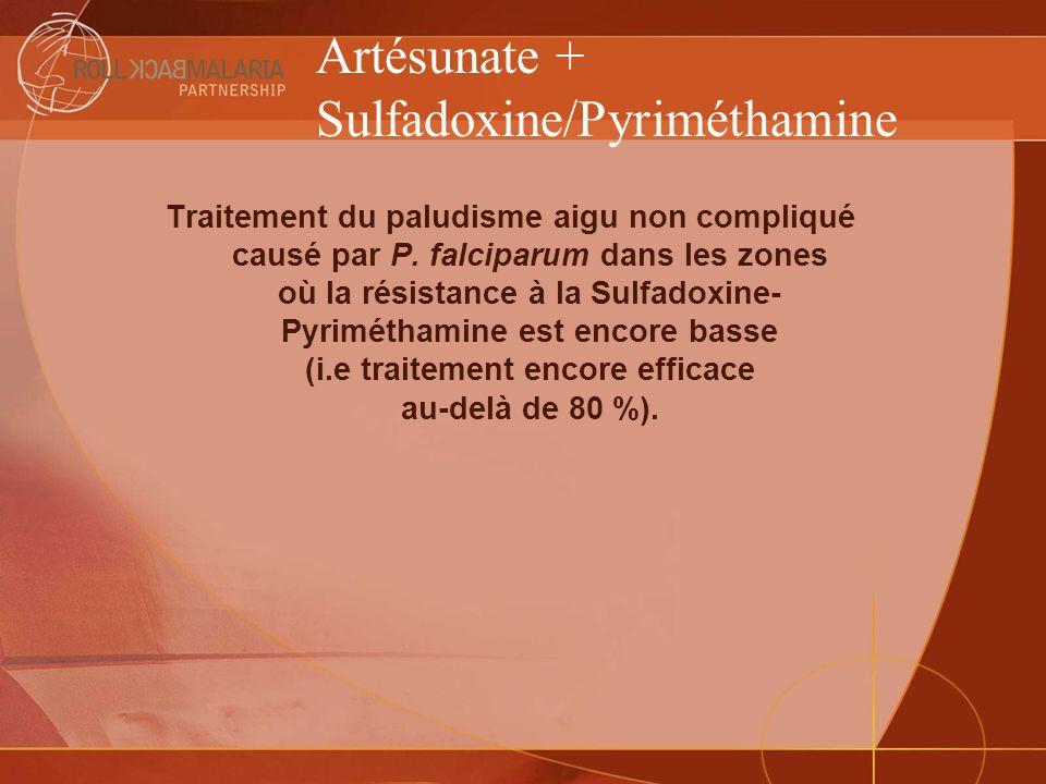 Artésunate + Sulfadoxine/Pyriméthamine Traitement du paludisme aigu non compliqué causé par P. falciparum dans les zones où la résistance à la Sulfado