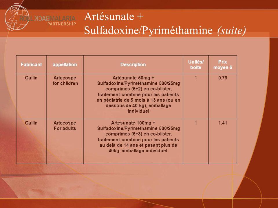 Artésunate + Sulfadoxine/Pyriméthamine (suite) FabricantappellationDescription Unités/ boite Prix moyen $ GuilinArtecospe for children Artésunate 50mg