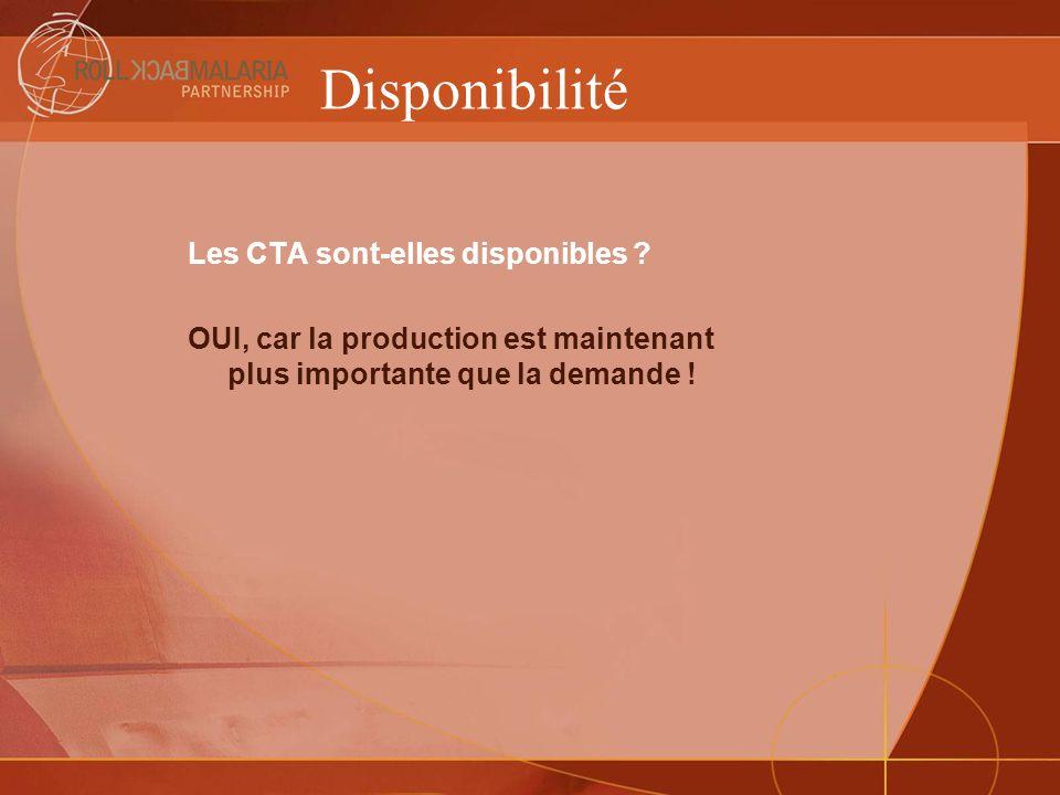 Disponibilité Les CTA sont-elles disponibles ? OUI, car la production est maintenant plus importante que la demande !