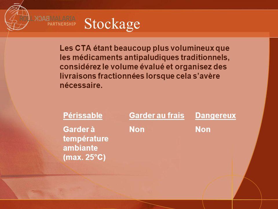 Stockage Les CTA étant beaucoup plus volumineux que les médicaments antipaludiques traditionnels, considérez le volume évalué et organisez des livrais