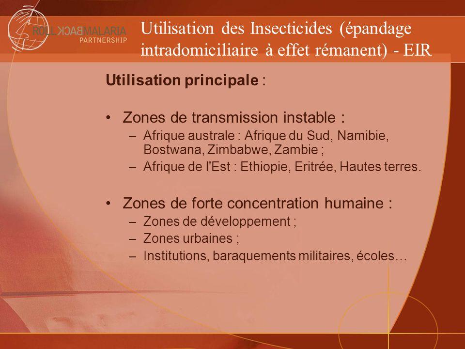 Utilisation des Insecticides (épandage intradomiciliaire à effet rémanent) - EIR Utilisation principale : Zones de transmission instable : –Afrique au