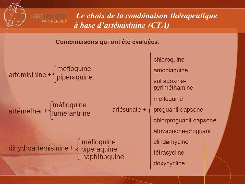 Réponse à la résistance croissante : Combinaisons thérapeutiques recommandées par lOMS Consultation technique de lOMS sur Les combinaisons thérapeutiques antipaludiques - Avril 2001 Artésunate + amodiaquine Artémether/luméfantrine Artésunate + SP Artésunate + méfloquine FDC CTAs