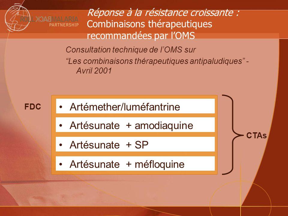 Réponse à la résistance croissante : Combinaisons thérapeutiques recommandées par lOMS Consultation technique de lOMS sur Les combinaisons thérapeutiq