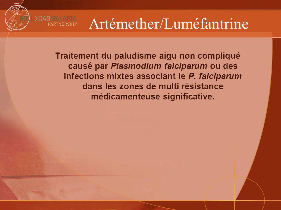 Artémether/Luméfantrine (suite) FabricantAppellationDescription Unités/ boite Prix Unitaire $ Novartis Pharma AG Coartem® (30X24) Artémether 20 mg + Luméfantrine 120 mg, comprimés (6x4) traitement pour les patients de plus de 35 kg 302.4 Novartis Pharma AG Coartem® (30X18) Artémether 20 mg + Luméfantrine 120 mg, comprimés (6x3) traitement pour les patients de 25 à 34 kg 301.9 Novartis Pharma AG Coartem® (30X12) Artémether 20 mg + Luméfantrine 120 mg, comprimés (6x2) traitement pour les patients de 15 à 24 kg 301.4 Novartis Pharma AG Coartem® (30X6) Artémether 20 mg + Luméfantrine 120 mg, comprimés (6) traitement pour les patients de 5 à 14 kg.