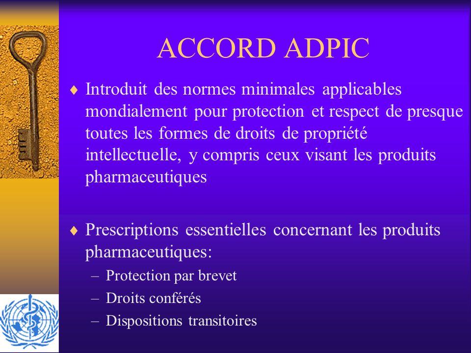 ACCORD ADPIC Introduit des normes minimales applicables mondialement pour protection et respect de presque toutes les formes de droits de propriété in