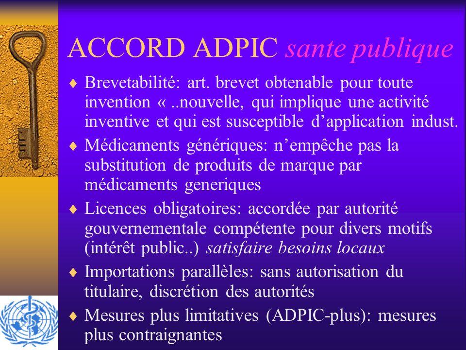 ACCORD ADPIC sante publique Brevetabilité: art. brevet obtenable pour toute invention «..nouvelle, qui implique une activité inventive et qui est susc