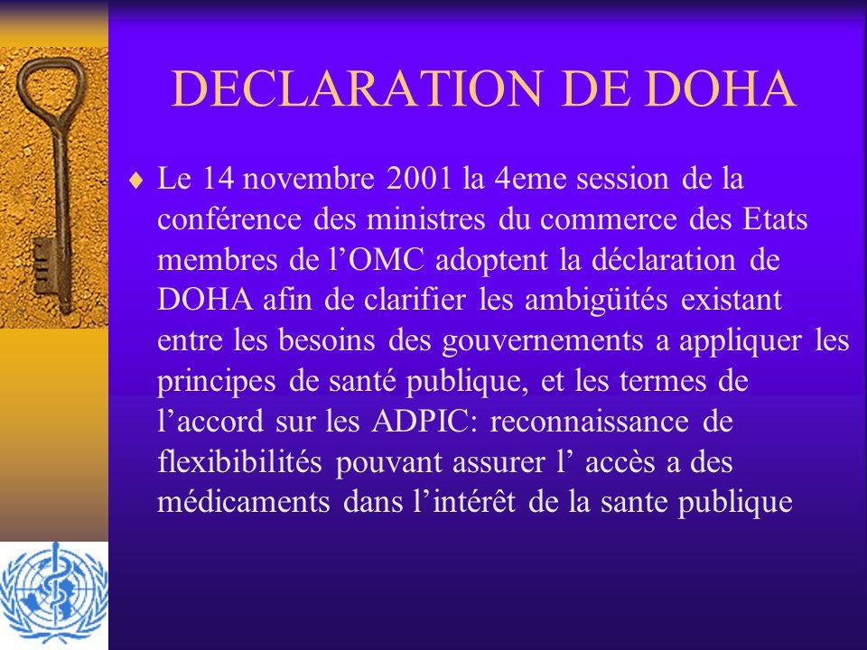 DECLARATION DE DOHA Le 14 novembre 2001 la 4eme session de la conférence des ministres du commerce des Etats membres de lOMC adoptent la déclaration d