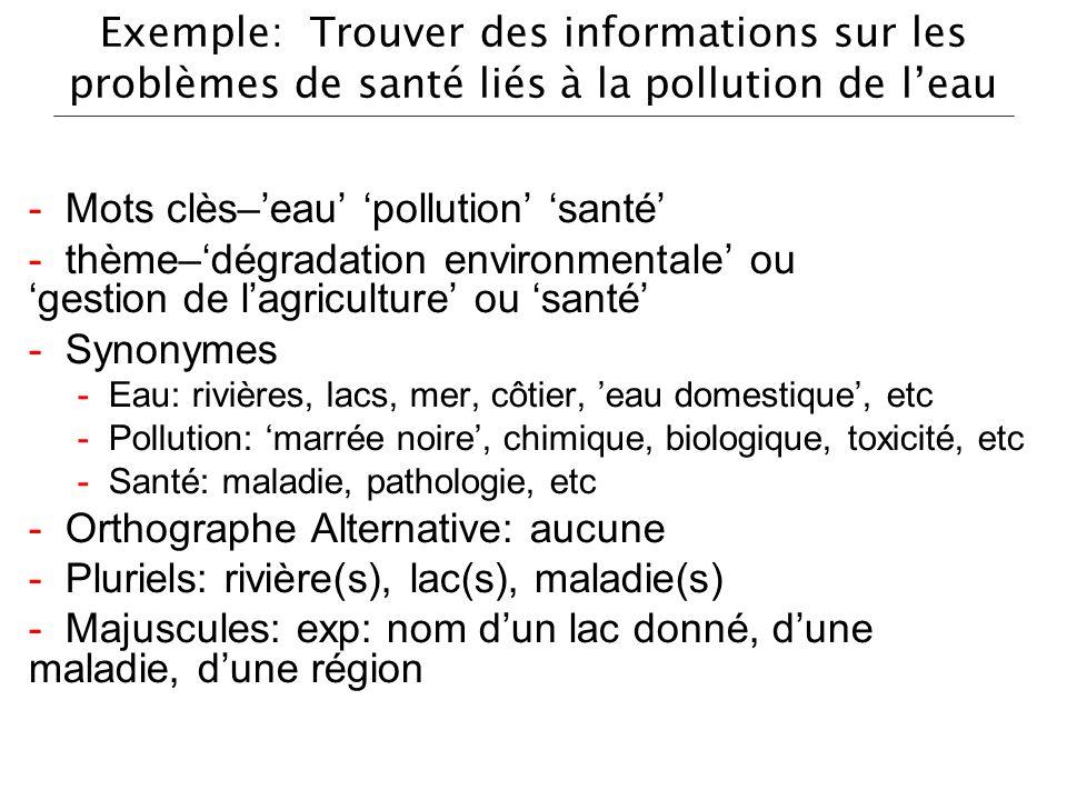 Exemple: Trouver des informations sur les problèmes de santé liés à la pollution de leau - Mots clès–eau pollution santé - thème–dégradation environme