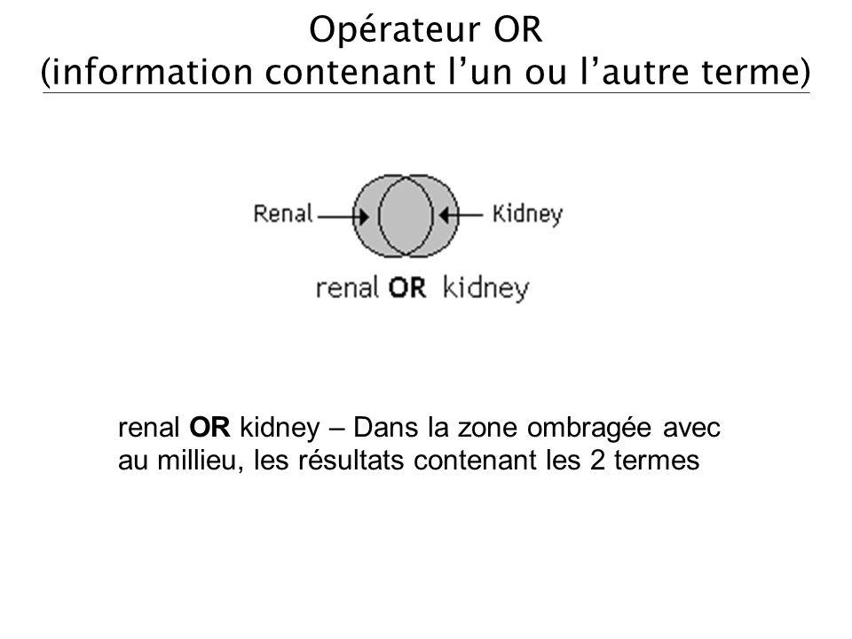 Opérateur OR (information contenant lun ou lautre terme) renal OR kidney – Dans la zone ombragée avec au millieu, les résultats contenant les 2 termes