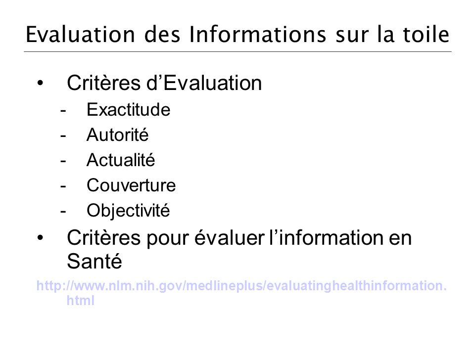 Evaluation des Informations sur la toile Critères dEvaluation -Exactitude -Autorité -Actualité -Couverture -Objectivité Critères pour évaluer linforma