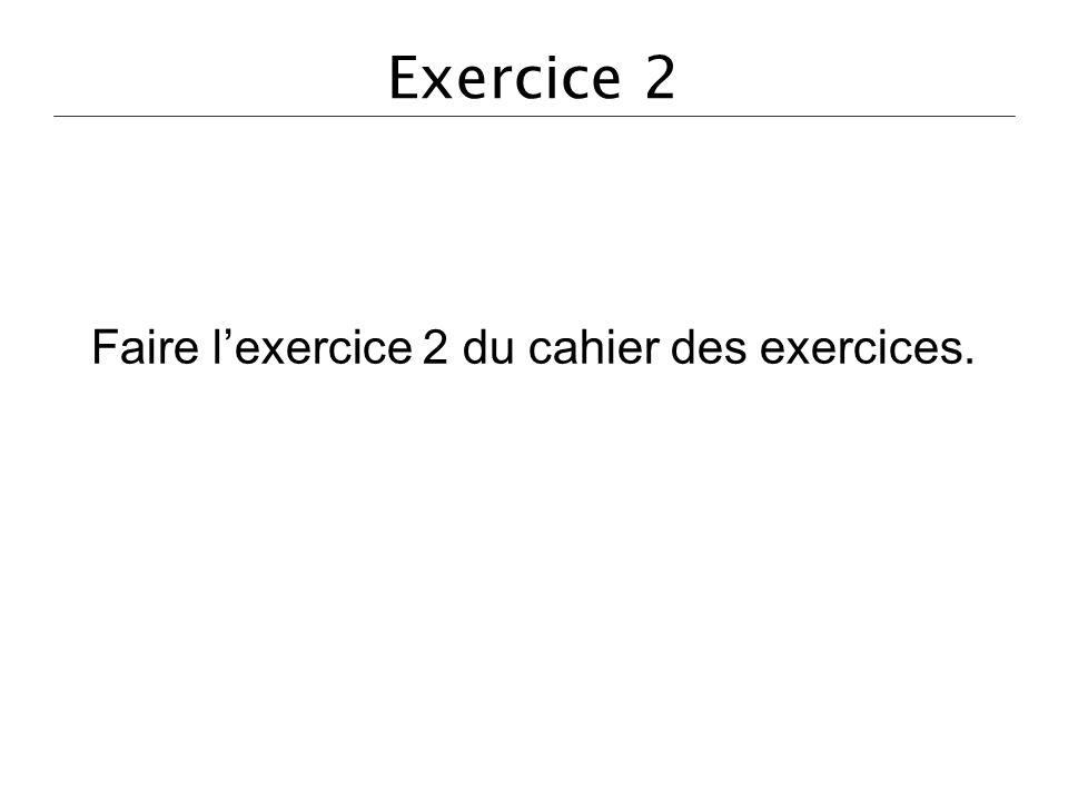 Exercice 2 Faire lexercice 2 du cahier des exercices.