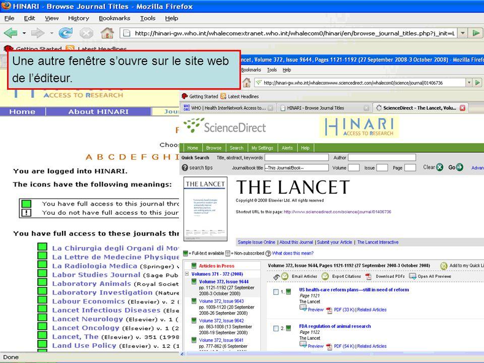 Accessing journals by title 4 Une autre fenêtre souvre sur le site web de léditeur.