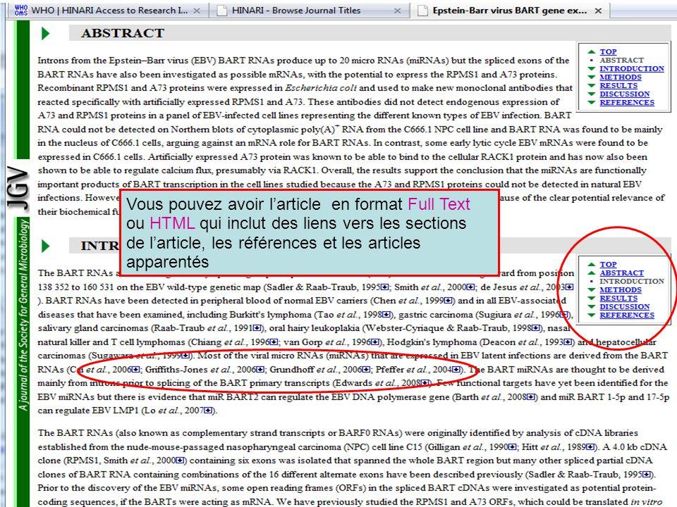Vous pouvez avoir larticle en format Full Text ou HTML qui inclut des liens vers les sections de larticle, les références et les articles apparentés