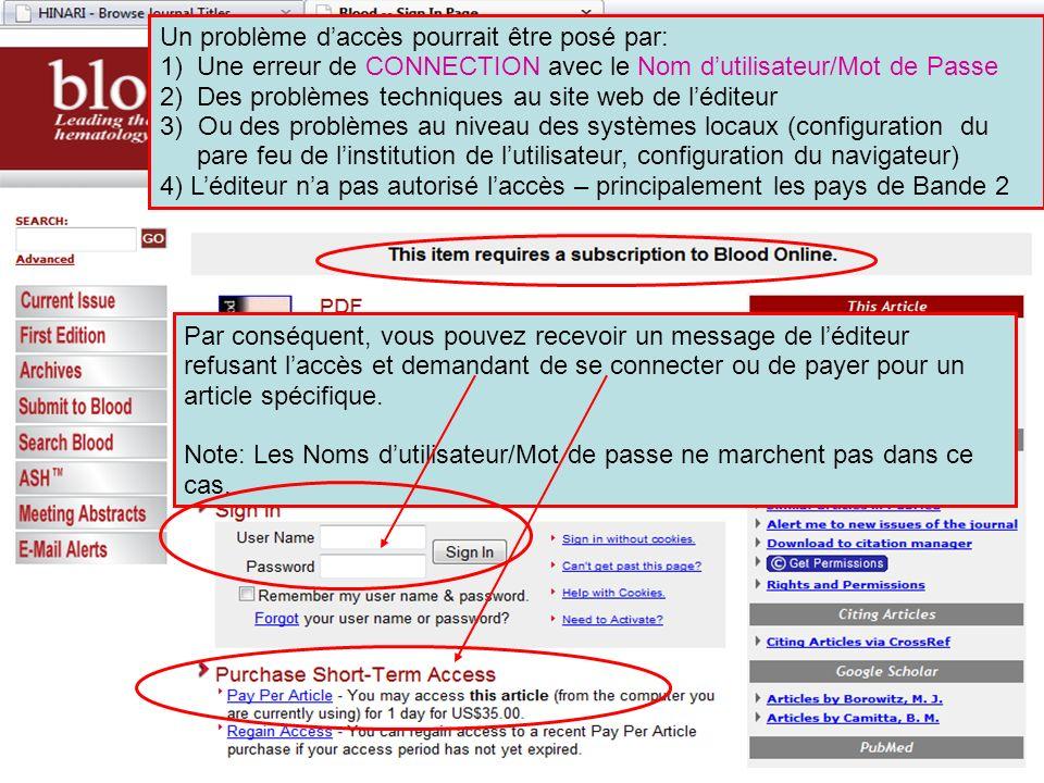 Un problème daccès pourrait être posé par: 1)Une erreur de CONNECTION avec le Nom dutilisateur/Mot de Passe 2)Des problèmes techniques au site web de