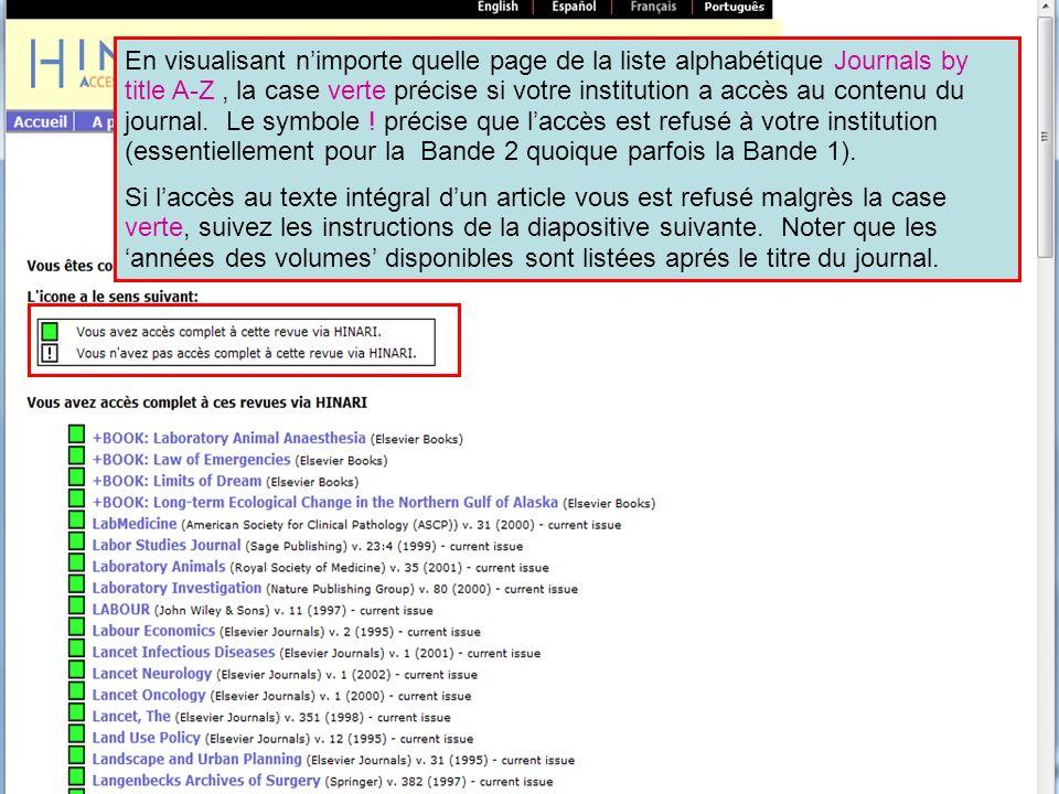 En visualisant nimporte quelle page de la liste alphabétique Journals by title A-Z, la case verte précise si votre institution a accès au contenu du j