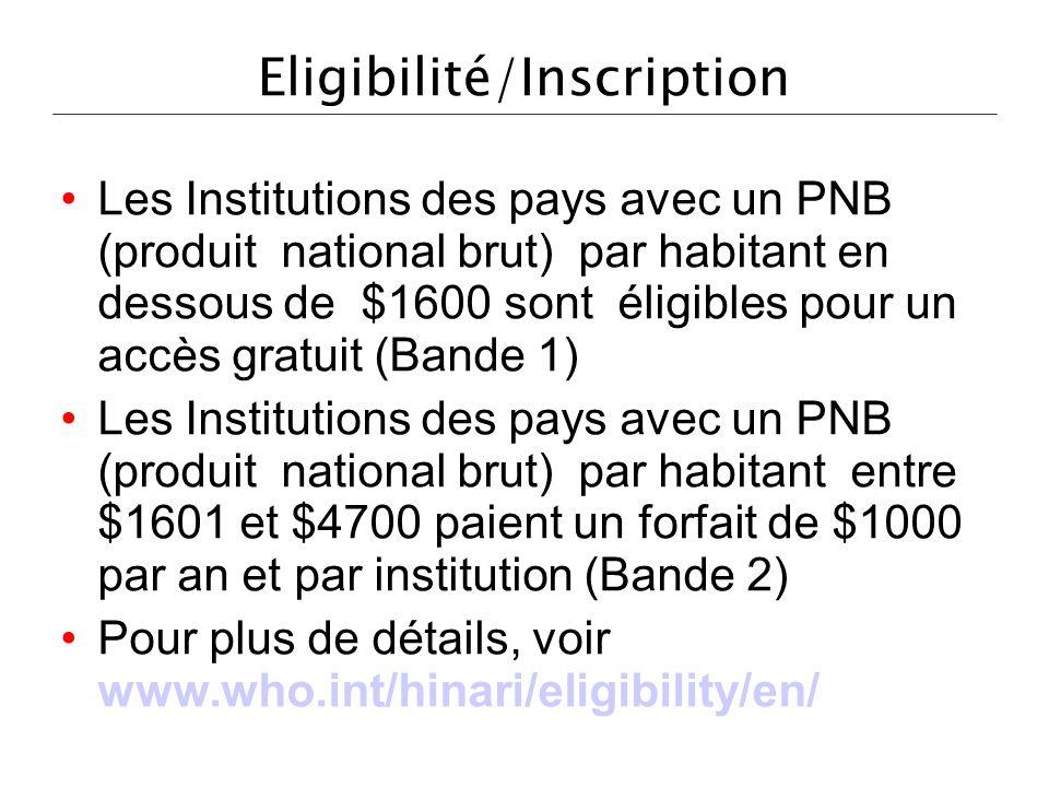 Eligibilité/Inscription Les Institutions des pays avec un PNB (produit national brut) par habitant en dessous de $1600 sont éligibles pour un accès gr