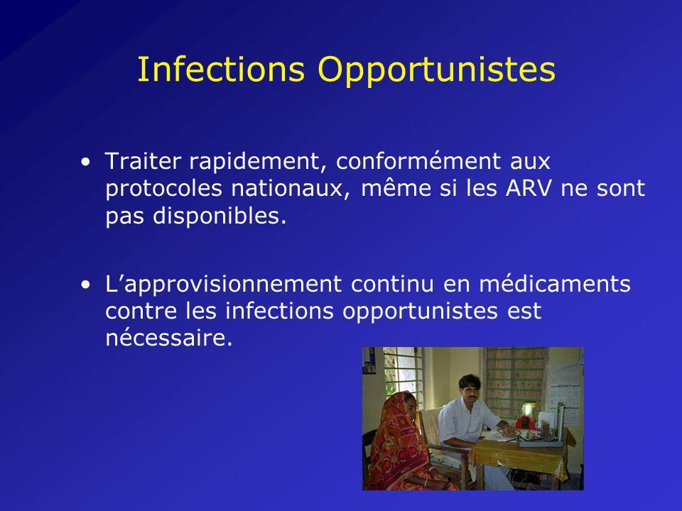 Infections Opportunistes Traiter rapidement, conformément aux protocoles nationaux, même si les ARV ne sont pas disponibles. Lapprovisionnement contin