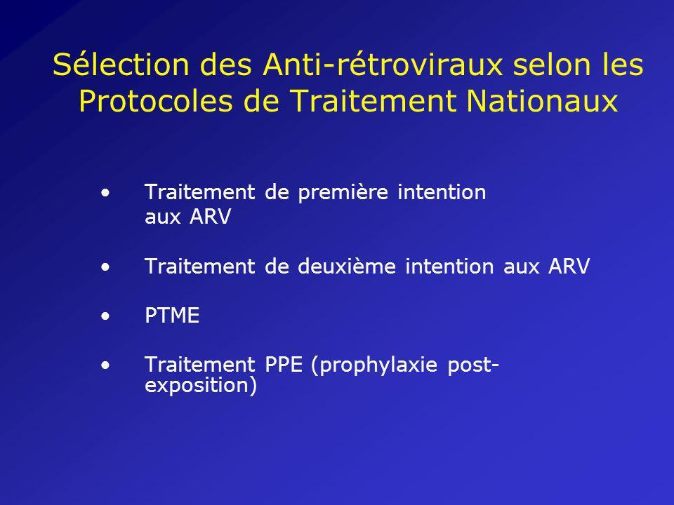 Sélection des Anti-rétroviraux selon les Protocoles de Traitement Nationaux Traitement de première intention aux ARV Traitement de deuxième intention