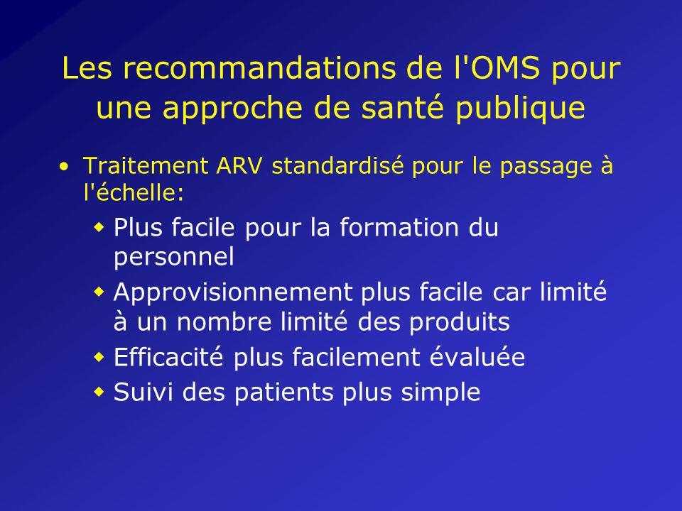 Les recommandations de l'OMS pour une approche de santé publique Traitement ARV standardisé pour le passage à l'échelle: w Plus facile pour la formati