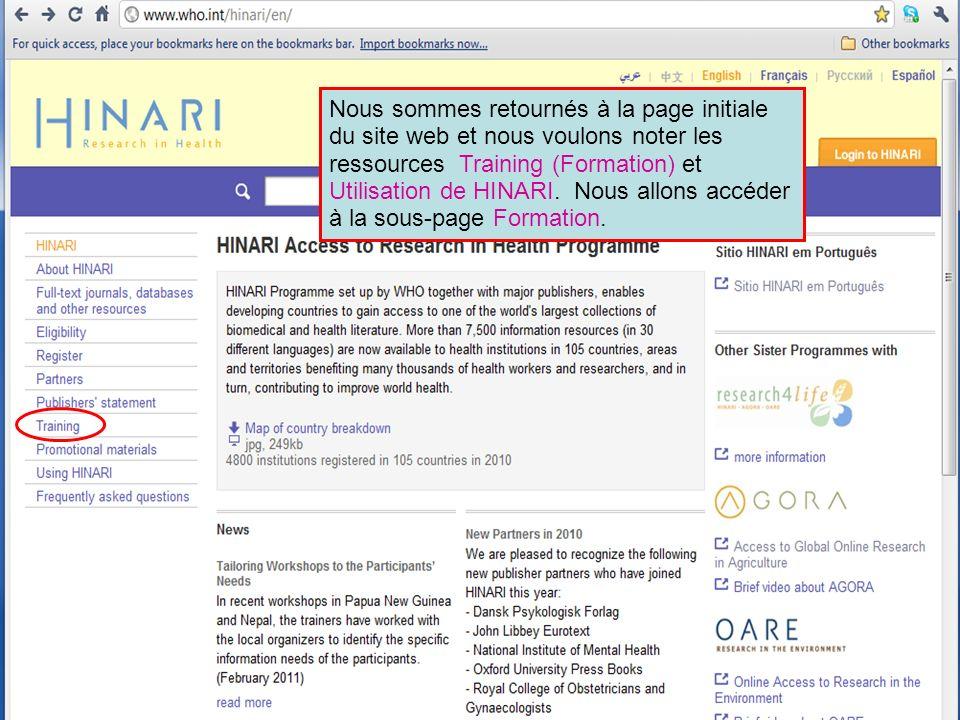 Nous sommes retournés à la page initiale du site web et nous voulons noter les ressources Training (Formation) et Utilisation de HINARI.