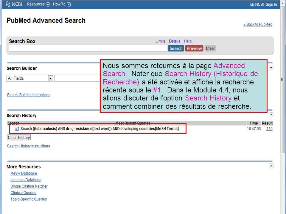 Noter que les filtres que vous avez choisi sont cités sur Votre liste de filtres PubMed et que le filtre le plus récemment ajouté est cité sur la boite verte.