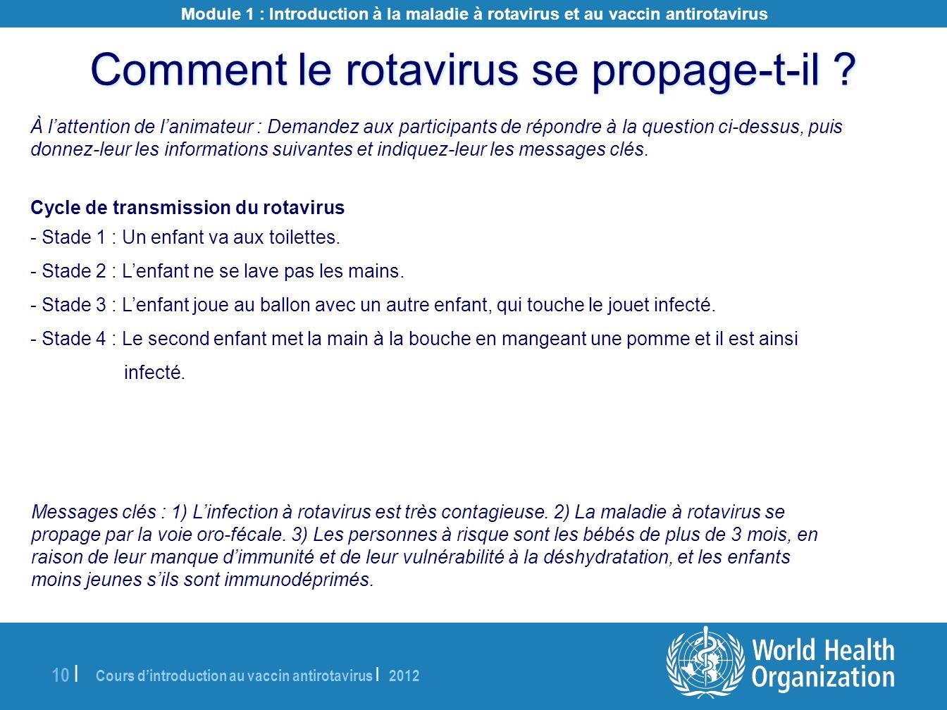 Cours dintroduction au vaccin antirotavirus | 2012 10 | À lattention de lanimateur : Demandez aux participants de répondre à la question ci-dessus, pu