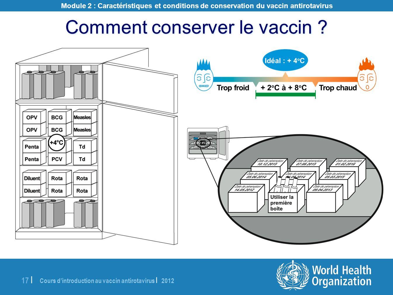 Cours dintroduction au vaccin antirotavirus | 2012 17 | Comment conserver le vaccin ? Module 2 : Caractéristiques et conditions de conservation du vac