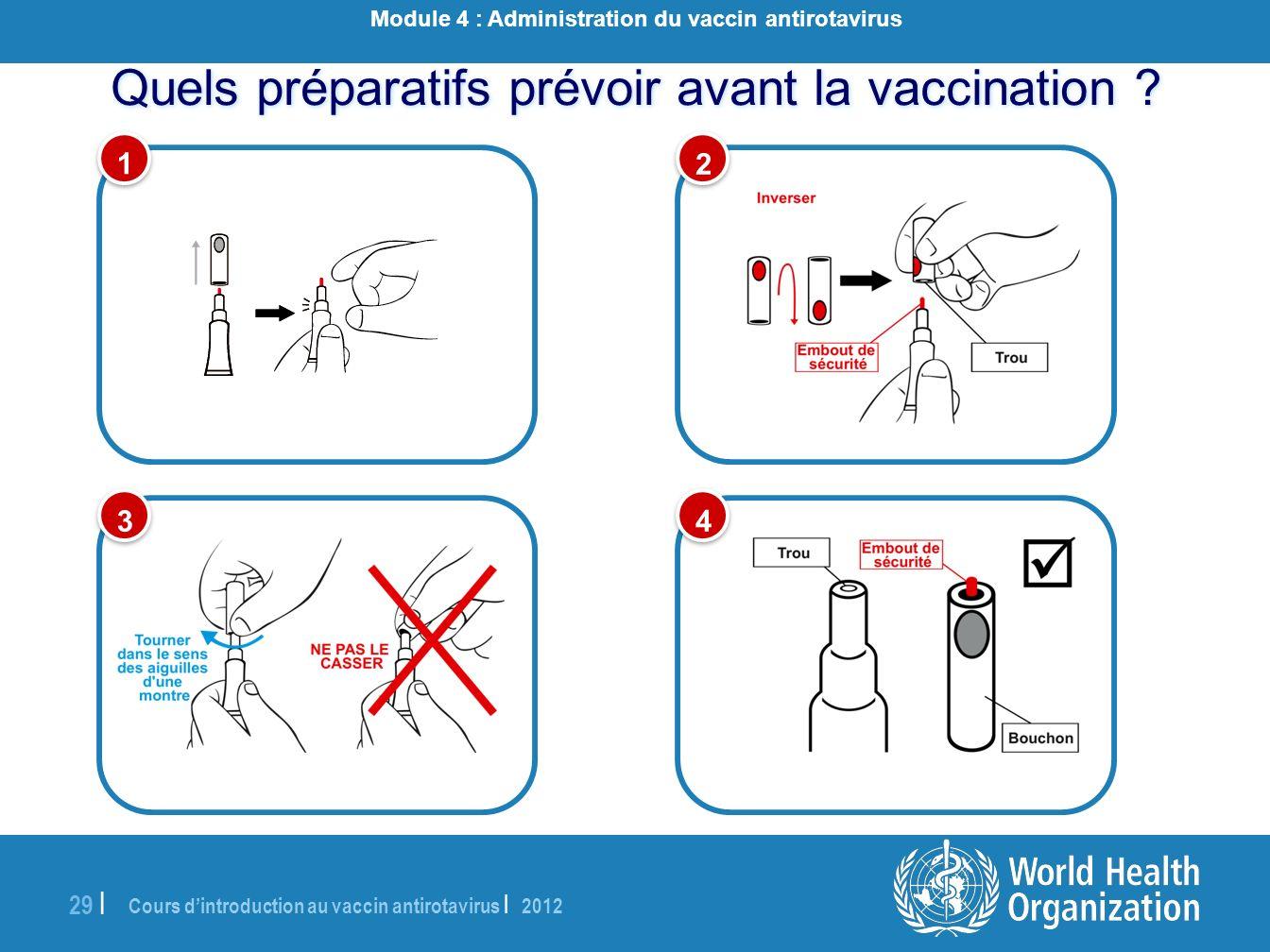 Cours dintroduction au vaccin antirotavirus | 2012 29 | Quels préparatifs prévoir avant la vaccination ? 1 1 3 3 2 2 4 4 Module 4 : Administration du