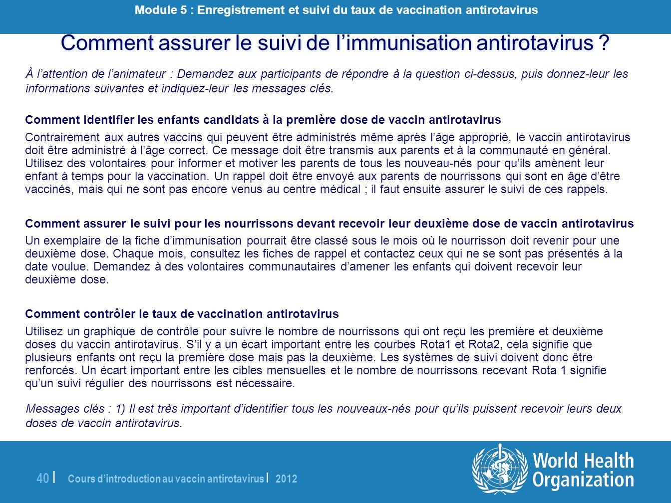 Cours dintroduction au vaccin antirotavirus | 2012 40 | Comment assurer le suivi de limmunisation antirotavirus ? À lattention de lanimateur : Demande