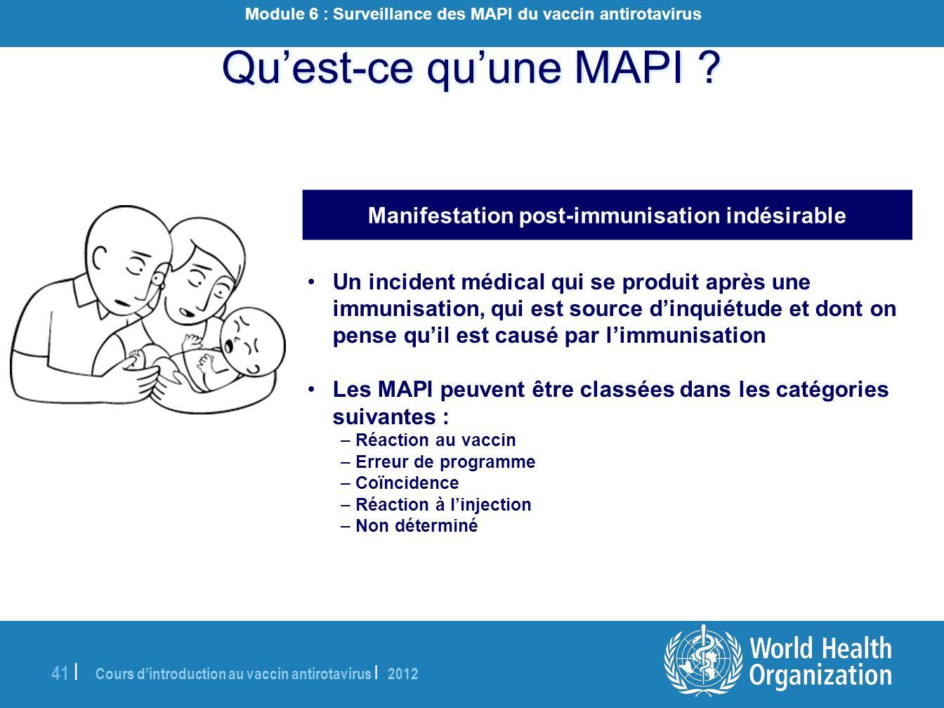Cours dintroduction au vaccin antirotavirus | 2012 41 | Quest-ce quune MAPI ? Manifestation post-immunisation indésirable Un incident médical qui se p