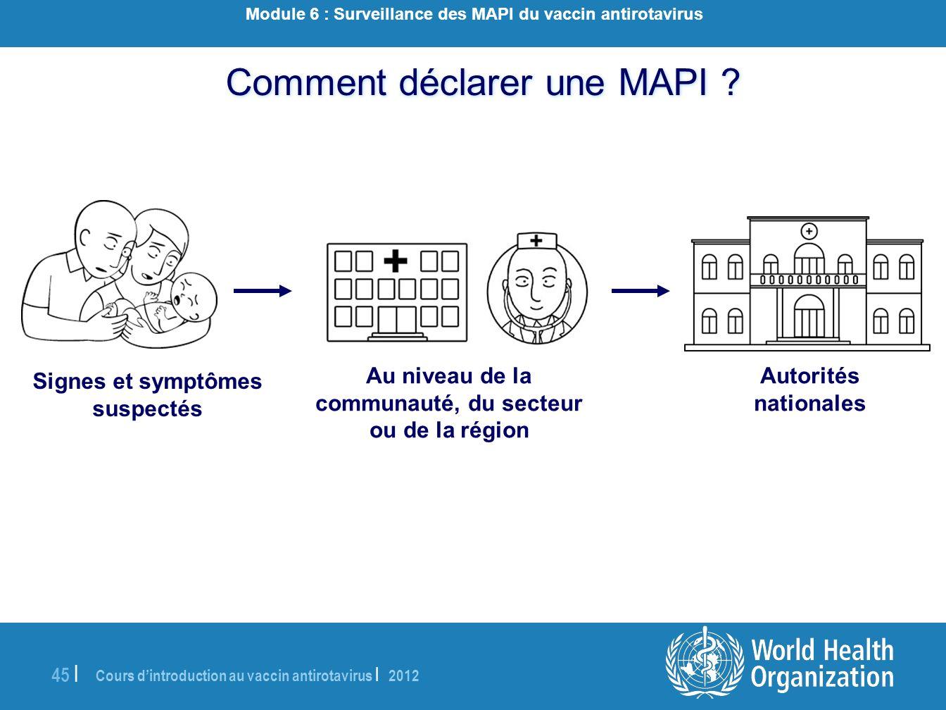 Cours dintroduction au vaccin antirotavirus | 2012 45 | Comment déclarer une MAPI ? Autorités nationales Au niveau de la communauté, du secteur ou de