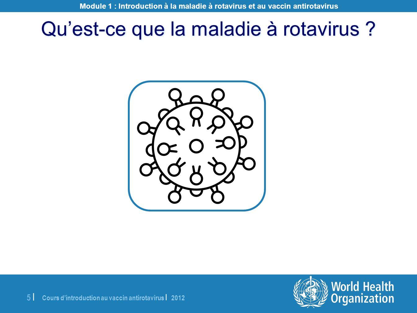 Cours dintroduction au vaccin antirotavirus | 2012 5 |5 | Quest-ce que la maladie à rotavirus ? Module 1 : Introduction à la maladie à rotavirus et au